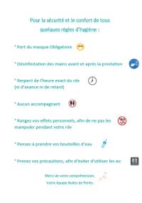RÉOUVERTURE LE 11 MAI 2020 DE L'INSTITUT BULLES DE PERLES A ERMONT
